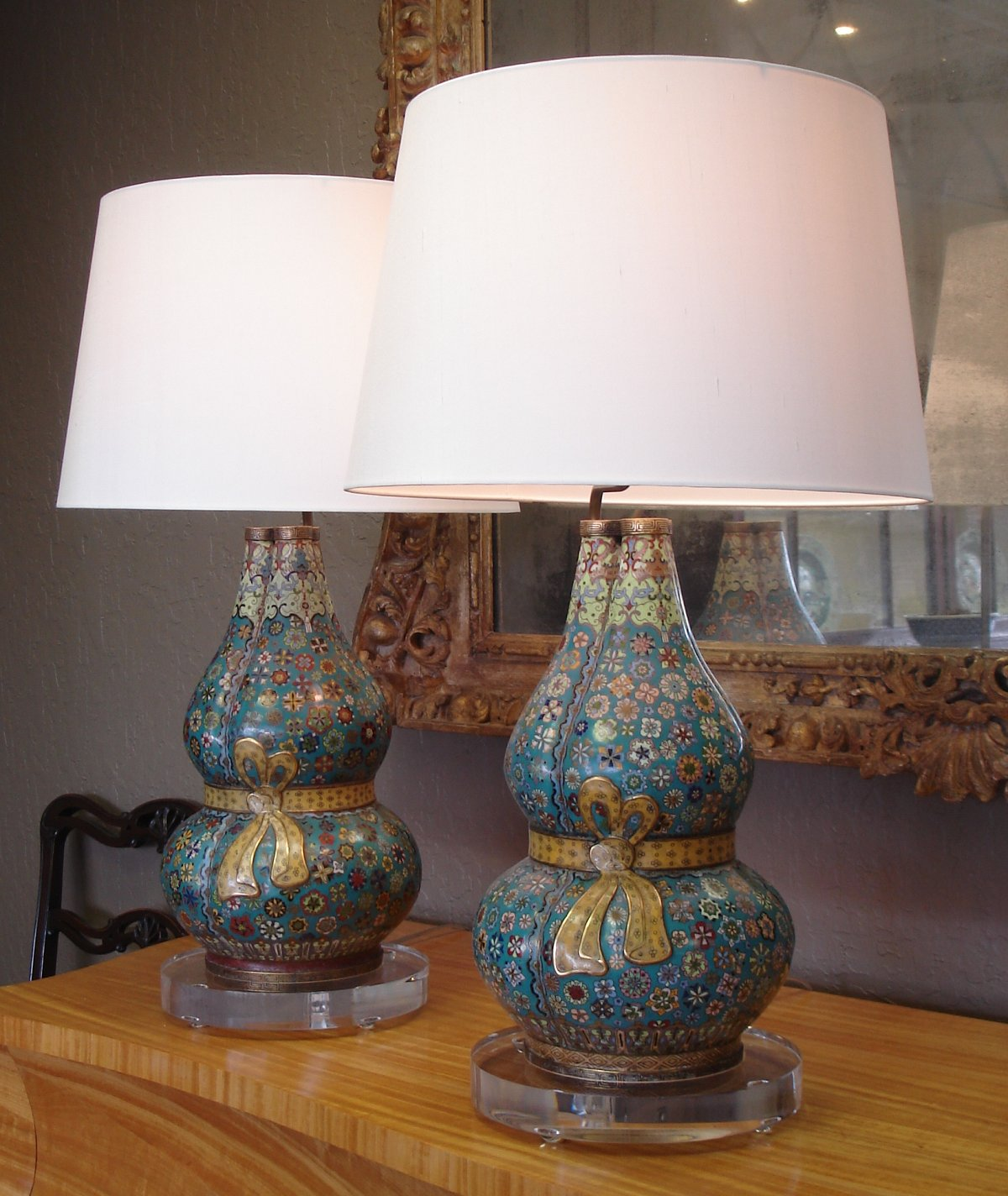 Wonderful Pair Of Cloisonné Triple Gourd Vases, Now As Lamp Bases