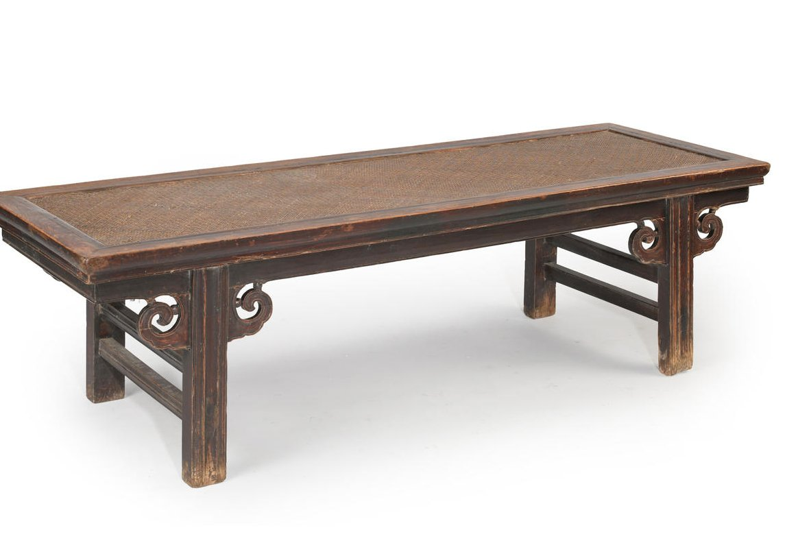 A Chinese Wooden Bench With Rattan Seat Chappell Mccullar