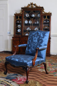 'French' chair, as executed by Chippendale. Modern blue damask, matching the period original